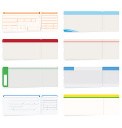set of eight boarding pass or train ticket vector image