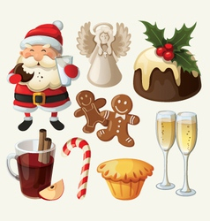 Set of festive food and decorations for christmas vector image
