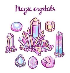 Set of magical crystals Jeweler set vector image
