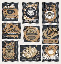 set of stamps on the theme of coffee vector image