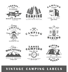 Set of vintage camping labels vector