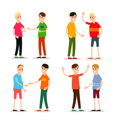 set young man standing and greet each other group vector image