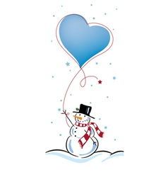 snowman with love balloon vector image