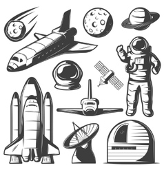 Space monochrome elements set vector