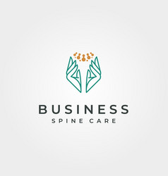 spine clinic abstract logo with hand symbol design vector image
