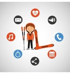 sportsman skiing winter style design vector image
