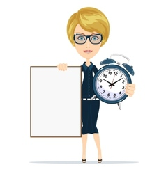 student with a poster and an alarm clock vector image vector image