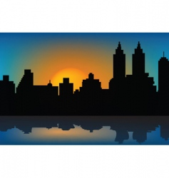 sunset and skyscrapers vector image vector image