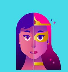 Super woman hero costume concept vector