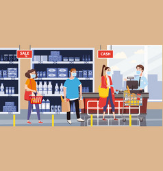 Supermarket store counter cashier and buyers in vector