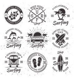 surfing set of nine black vintage emblems vector image