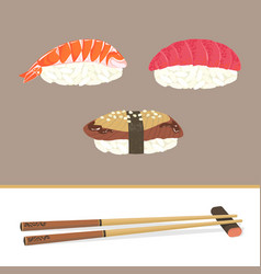 sushi and chopsticks vector image vector image