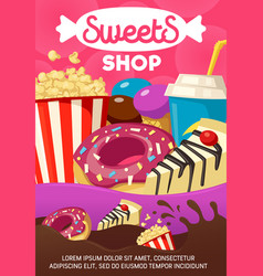 Tasty sweets and fast food shop cartoon poster vector