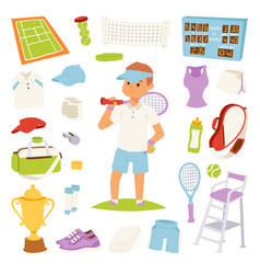 Tennis player and game symbols vector