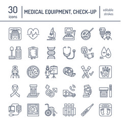 Thin line icon of medical equipment vector