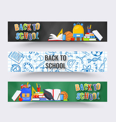 three horizontal back to school banners backpack vector image