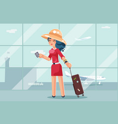 Travel cute woman suitcase passport airport vector