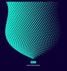Turquoise color halftone design abstract curve vector