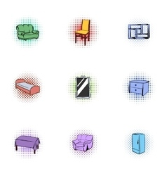 Type of furniture icons set pop-art style vector image