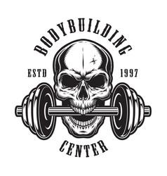 Vintage monochrome bodybuilding logo template vector
