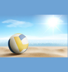 Volleyball ball on sandy beach background vector