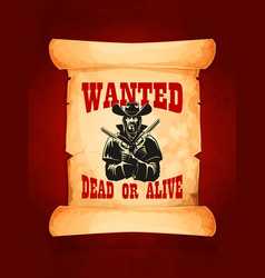Wanted dead or alive cowboy poster design vector