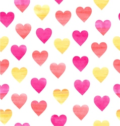 Watercolor pattern with hearts vector