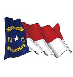 Waving flag state north carolina vector