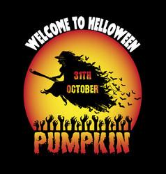 Welcome to halloween pumpkin vector