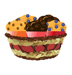 Wicker basket with muffins flat vector