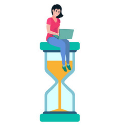 Woman sitting on sand glass clock worker vector