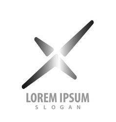 x letter metallic concept design symbol graphic vector image