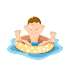 Boys play and swim in the pool vector image vector image