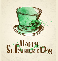 green hat and watercolor blots vector image vector image