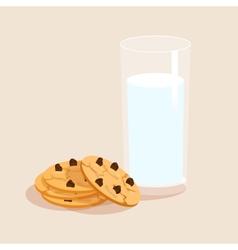 Milk and cookies decorative set vector image vector image