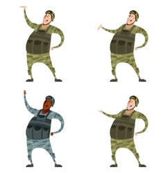 Set of military men vector image
