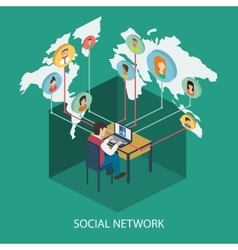 Social network online concept for web and infograp vector image vector image