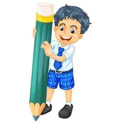a boy and pencil vector image vector image