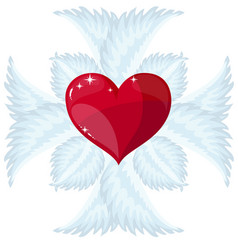 christian cross and heart logo or sign vector image