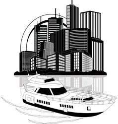 Luxury yacht and skyscrapers vector image vector image