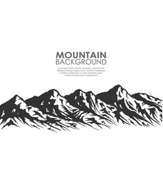 mountain range silhouette isolated on white vector image vector image