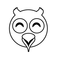 owl face animal outline vector image