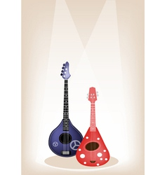 Two Beautiful Ukulele Guitar on Brown Stage vector image vector image