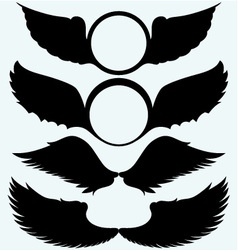 Angel wings and shield with wings vector image