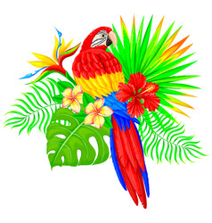Bright tropical composition with parrot palm tree vector