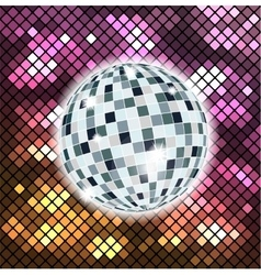 Colorful background with disco ball vector image vector image