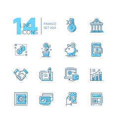 Finance - coloured modern single line icons set vector