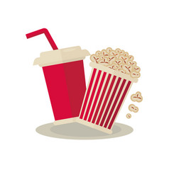 popcorn carton bowl and soda takeaway on white vector image vector image