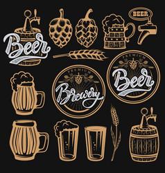 set of elements for beer labels design beer mugs vector image