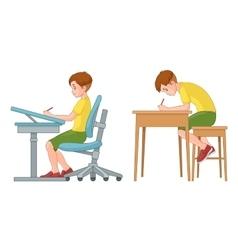 Student boy writing Incorrect and correct back vector image